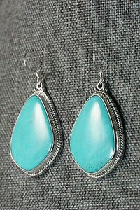 Turquoise & Sterling Silver Earrings - Annie Spencer - Navajo