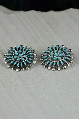 Zuni Turquoise & Sterling Silver Earrings - Merlinda Chavez - High Lonesome Trading