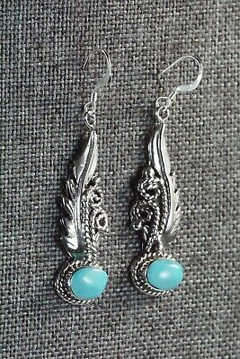 Navajo Turquoise & Sterling Silver Earrings - Bobby Platero