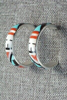 Multi Stone Inlay & Sterling Silver Hoop Earrings - Delberta Boone - High Lonesome Trading