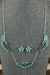 Zuni Turquoise & Sterling Silver Necklace & Earrings Set - Veronica Martza - High Lonesome Trading