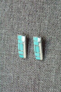 Turquoise & Sterling Silver Earrings - Glendis Tsadias