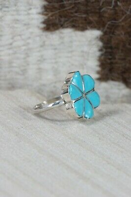 Zuni Turquoise and Sterling Silver Flower Ring - Jonathan Besselente - Size 5.5