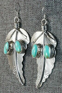 Navajo Turquoise & Sterling Silver Earrings - Daryl Delgarito - High Lonesome Trading