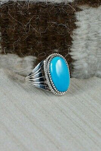 Navajo Turquoise and Sterling Silver Ring - Bobby Platero - Size 12.25