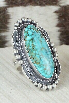 Turquoise & Sterling Silver Ring - Tom Lewis - Size 9