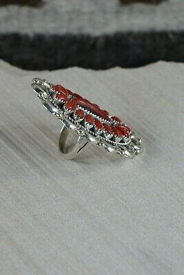 Navajo Coral and Sterling Silver Ring - Jaz Wilson - Size 7 - High Lonesome Trading