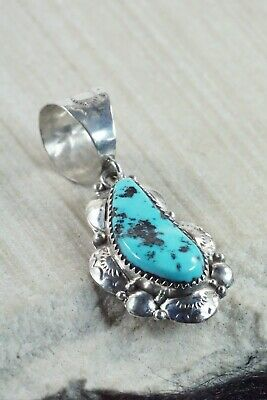 Turquoise and Sterling Silver Pendant - Clem Nalwood