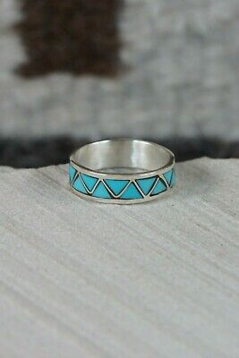 Zuni Turquoise and Sterling Silver Ring - Tina Haloo - Size 6.75 - High Lonesome Trading