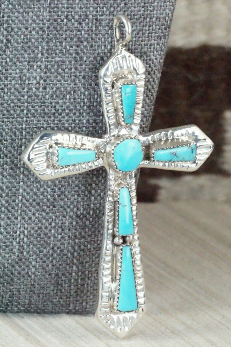 Turquoise & Sterling Silver Pendant - Lupe Leekity - High Lonesome Trading