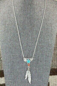 Turquoise, Coral & Sterling Silver Necklace - Sharon McCarthy - High Lonesome Trading