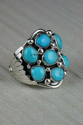 Navajo Turquoise Cluster and Sterling Silver Ring - Bobby Platero - Size 13.5 - High Lonesome Trading