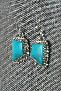 Navajo Turquoise & Sterling Silver Earrings - Alvin Joe - High Lonesome Trading