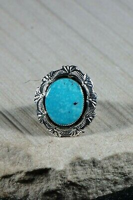 Navajo Turquoise and Sterling Silver Ring - Daniel Benally - Size 7 - High Lonesome Trading