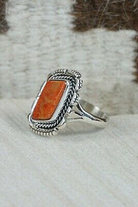 Navajo Spiny Oyster and Sterling Silver Ring - Andrew Vandever - Size 6.5