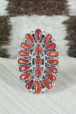 Coral and Sterling Silver Ring - Donovan Wilson - Size 7.75