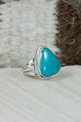 Navajo Turquoise & Sterling Silver Ring - Grace Kenneth - Size 5.5