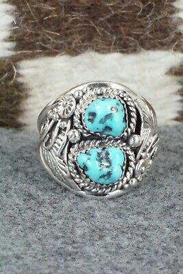 Turquoise & Sterling Silver Ring - Leonard Spencer - Size 13.25 - High Lonesome Trading
