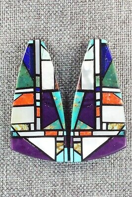 Multi Stone Inlay & Sterling Silver Earrings - Chris T. Nieto
