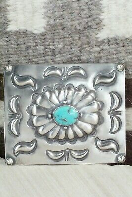Turquoise & Sterling Silver Belt Buckle - Wallace Yazzie Jr - High Lonesome Trading