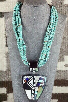 Turquoise, Multi Stone Pendant & Sterling Silver Necklace - Chris Nieto