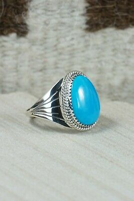 Navajo Turquoise and Sterling Silver Ring - Bobby Platero - 11.5