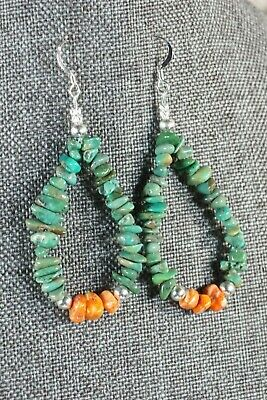 Navajo Turquoise and Spiny Oyster Hoop Earrings - Native American - High Lonesome Trading