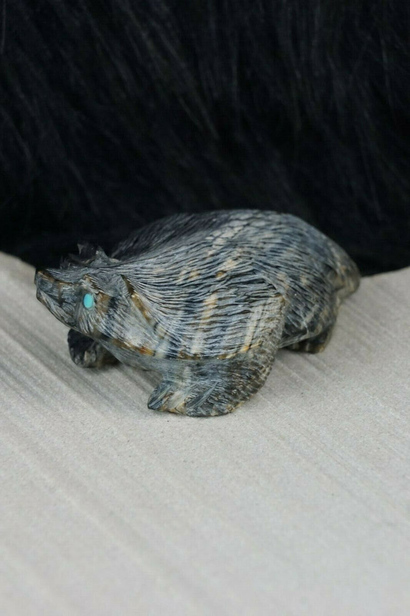 Badger Zuni Fetish Carving - Alvin Haloo - High Lonesome Trading