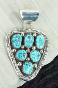 Turquoise and Sterling Silver Pendant - Leslie Nez - High Lonesome Trading