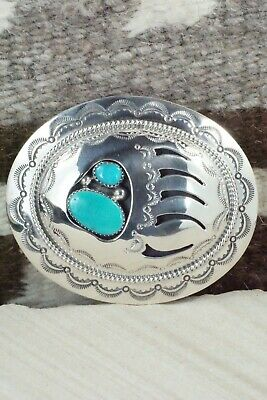 Turquoise & Sterling Silver Belt Buckle - Wilbert Muskett Sr. - High Lonesome Trading