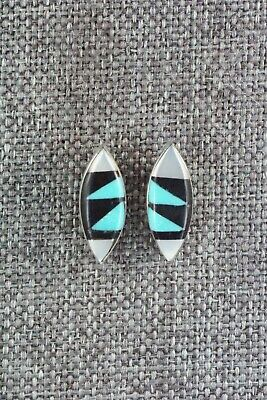 Multi Stone Inlay & Sterling Silver Earrings - Monica Johnson