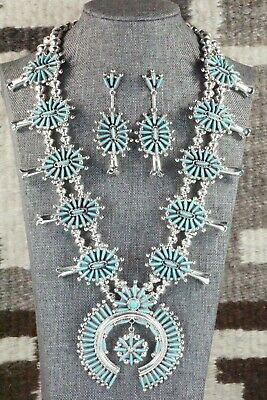Turquoise & Sterling Silver Squash Blossom Set - Lance and Cordelia Waatsa - High Lonesome Trading