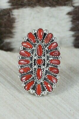 Coral and Sterling Silver Ring - Donovan Wilson - Size 7.5
