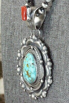 Turquoise, Coral Pendant & Sterling Silver Necklace - Tom Lewis
