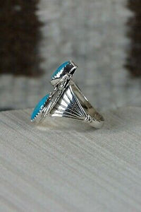 Navajo Turquoise and Sterling Silver Ring - Jeanette Saunders - Size 8.5 - High Lonesome Trading