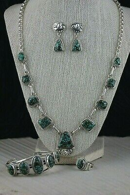 Navajo Turquoise & Sterling Silver Necklace Set - Raymond Delgarito - High Lonesome Trading
