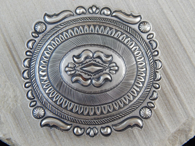 Navajo Sterling Silver Belt Buckle - Eugene Charley - High Lonesome Trading
