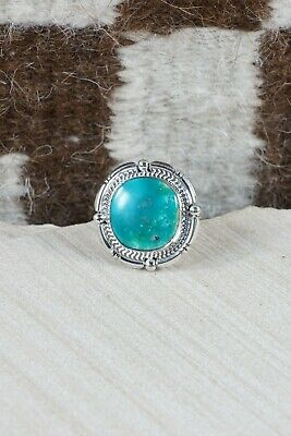 Navajo Turquoise and Sterling Silver Ring - Samuel Yellowhair - Size 10