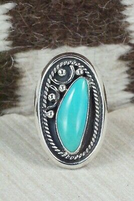 Turquoise and Sterling Silver Ring - Raymond Delgarito - Size 10