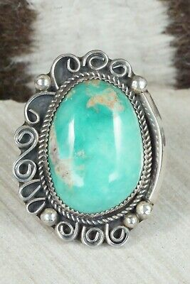 Turquoise and Sterling Silver Ring - Leslie Nez - Size 9