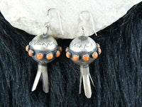 Navajo Sterling Silver & Spiny Oyster Blossom Earrings - Monica Smith - High Lonesome Trading