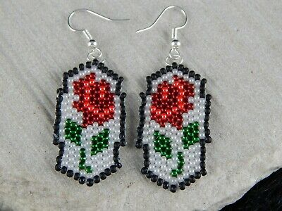 Zuni Glass Bead Flower Earrings - Lathen - High Lonesome Trading