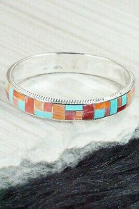Turquoise, Spiny Oyster & Sterling Silver Bangle Bracelet - Ricky Booqua - High Lonesome Trading