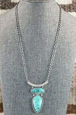 Navajo Turquoise & Sterling Silver Necklace - Raymond Delgarito