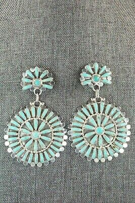 Turquoise & Sterling Silver Earrings - Lavell Byjoe