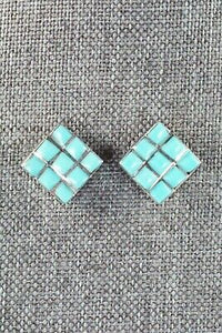Turquoise & Sterling Silver Earrings - Charles Malani - High Lonesome Trading