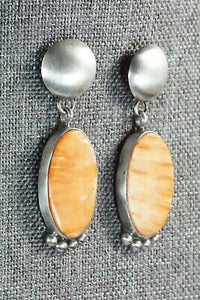 Spiny Oyster and Sterling Silver Earrings - Selina Warner