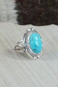 Turquoise & Sterling Silver Ring - Samuel Yellowhair - Size 5.75