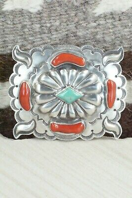 Turquoise, Coral & Sterling Silver Belt Buckle - Wallace Yazzie Jr - High Lonesome Trading
