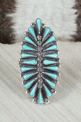 Turquoise and Sterling Silver Ring - Carlos Tsipa - Size 10.5